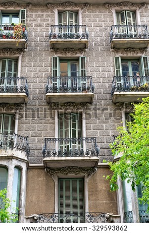BARCELONA, SPAIN - MAY 02: Details of the facade of art noveau houses in Barcelona. May 01, 2015 in Barcelona, Spain. May 02, 2015. - stock photo