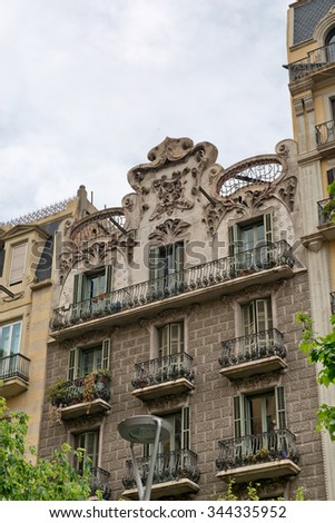 BARCELONA, SPAIN - MAY 01: Details of the facade of art noveau houses in Barcelona. May 01, 2015 in Barcelona, Spain - stock photo