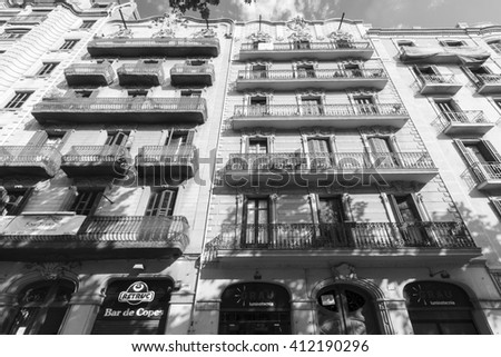 BARCELONA, SPAIN - MAY 8, 2009: Exterior view of apartments. The Mediterranean  style of buildings and way of liven shows in the very fabric of the local architecture.