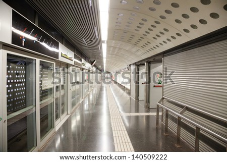 BARCELONA, SPAIN - MAY 5: Interior of metro station La Sagrera in May 5, 2012 in Barcelona, Spain. Metro began work December 30, 1924. Total length - 157.5 km. Number of stations - 209