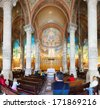 BARCELONA, SPAIN - MAY 18: Interior of Temple Expiatori del Sagrat Cor in May 18, 2013 in Barcelona, Spain.  The construction of the temple  lasted from 1902 to 1961 - stock photo