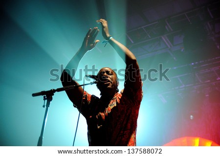 BARCELONA, SPAIN - MAY 4:  Kele Okereke, lead singer and rhythm guitarist of the indie rock band Bloc Party, performs at Razzmatazz Clubs on May 4, 2013 in Barcelona, Spain. - stock photo