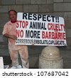 BARCELONA, SPAIN - MAY 04: Luis dressed as wounded animal protest against bullfighting on plaza in front of municipal building in Barcelona, Spain on May 04, 2012 - stock photo