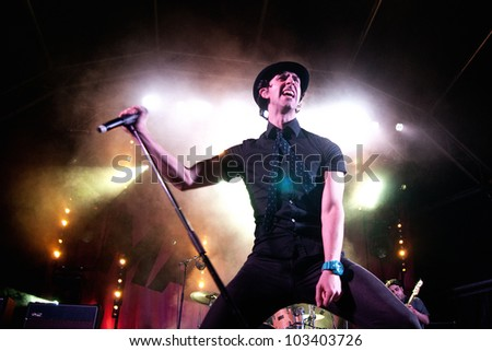 BARCELONA, SPAIN - MAY 12: Maximo Park band performs at Maremagnum on May 12, 2012 in Barcelona, Spain. La Pla�§a Odissea Festival.