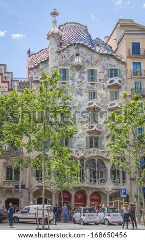 BARCELONA, SPAIN - MAY 31: Modernist Casa Batllo facade designed by Antoni Gaudi, in Barcelona, Spain, on May 31, 2013 - stock photo