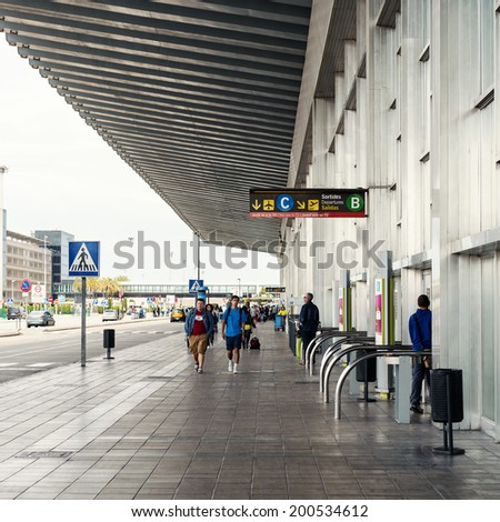 BARCELONA, SPAIN - MAY 30, 2014: Outside El Prat International Airport. The airport is the second largest in Spain and 31st busiest in the world, and is the main airport of Catalonia.