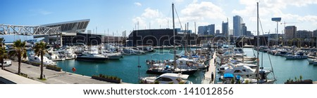 BARCELONA, SPAIN - MAY 26: Panorama of Port Forum. Barcelona, Spain in May 26, 2013 in Barcelona, Spain.  This port - one of the three ports of Barcelona