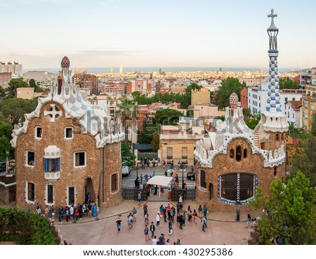 BARCELONA, SPAIN - MAY 27, 2016: Park Guell by architect Gaudi. Barcelonu, Spain.