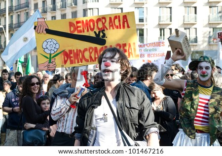 BARCELONA, SPAIN - MAY 1: Various anarchist and communist groups organized an anti-capitalism demonstration as thousands celebrated the annual May Day with a march on May 1st, 2012 in Barcelona, Spain