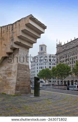 Barcelona, Spain. Monument to Francesc Macia in Placa de Catalunya.  - stock photo