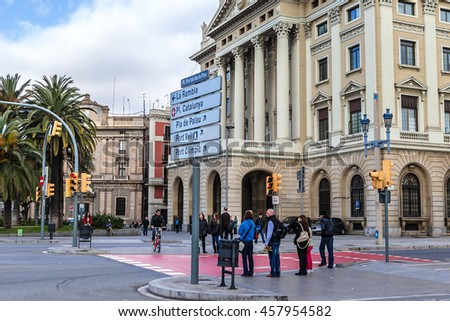 BARCELONA, SPAIN - NOVEMBER 16, 2013: In the streets of Barcelona. Barcelona is the capital of Catalonia and the second largest city in Spain.