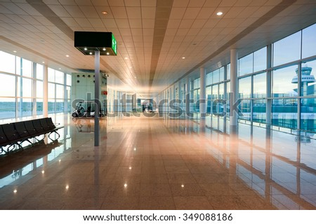 BARCELONA, SPAIN - NOVEMBER 20, 2015: interior of Barcelona airport. Barcelona-El Prat Airport is an international airport. It is the main airport of Catalonia