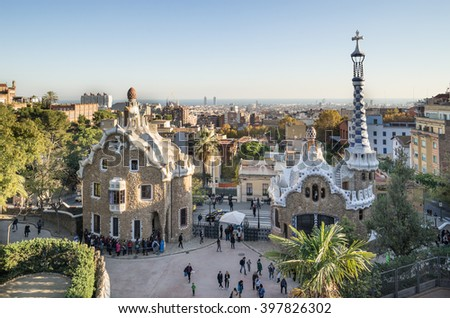 BARCELONA, SPAIN - NOVEMBER 28, 2015: Park Guell by architect Gaudi in a summer day in Barcelona, Spain. - stock photo