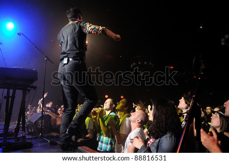 BARCELONA, SPAIN - OCT 14: Patrick Wolf performs at Apolo on October 14, 2011 in Barcelona, Spain. - stock photo