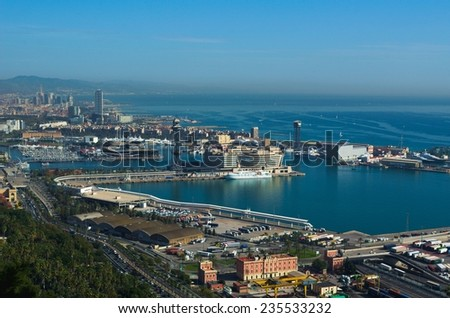 BARCELONA, SPAIN, OCTOBER 24, 2014: Aerial view of the industrial part of port of barcelona