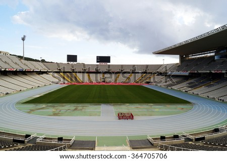 BARCELONA, SPAIN - OCTOBER 07, 2015: Barcelona Olympic Stadium, host of the 1992 Summer Olympics in Barcelona, Spain