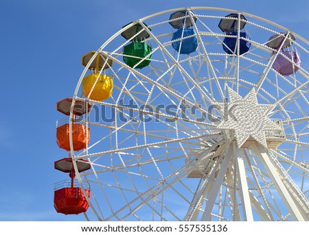 BARCELONA, SPAIN - OCTOBER 17: Big wheel attraction in Barcelona, Spain on October 17, 2014. It is located at the free access area of the Tibidabo Amusement Park in Barcelona.