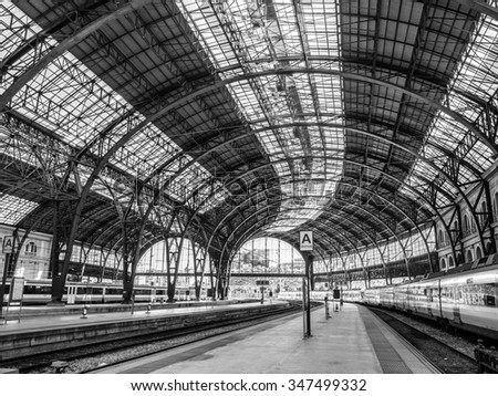 "Barcelona, Spain - October 10, 2015. Empty platforms in the Estacion de Francia in Barcelona with a train waiting on the right side. ""France Station"" is a historic station in the city of Barcelona"