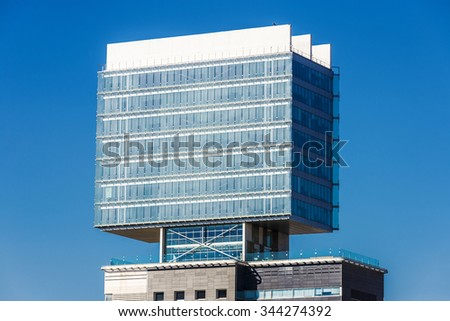 Barcelona, Spain - October 31, 2015: New district with office buildings and hotels on the coast in Barcelona, Catalonia, Spain