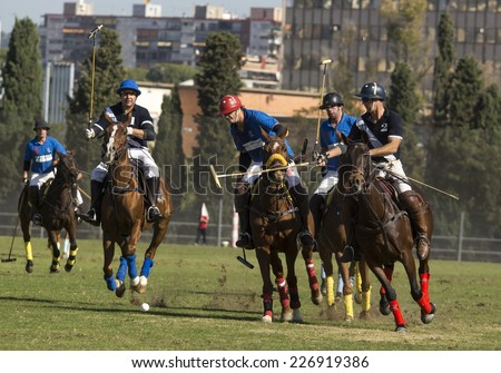 BARCELONA, SPAIN - OCTOBER 25: Players during the International City of Barcelona Polo Tournament on October 25, 2014 in Barcelona, Spain.