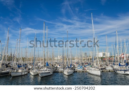 BARCELONA, SPAIN - OCTOBER 12, 2014 - port at Mediterranean sea and tourist destination. Catalonia, Spain, Europe.
