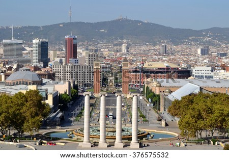 BARCELONA, SPAIN - OCTOBER 20: View from Montjuic of Barcelona, Spain on October 20, 2014. Barcelona is one of the most visited cities in the world.