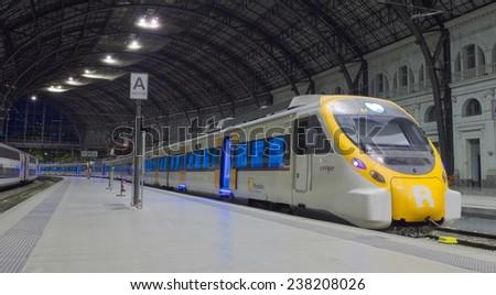 BARCELONA, SPAIN, OCTOBER 22, 2014: View of the interior of the train station estacion de franca in barcelona. - stock photo