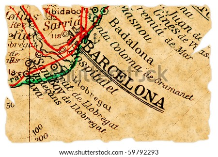 Barcelona, Spain on an old torn map from 1949, isolated. Part of the old map series. - stock photo
