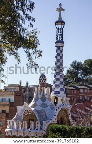 Barcelona, Spain. Park Guell, Gaudi - stock photo
