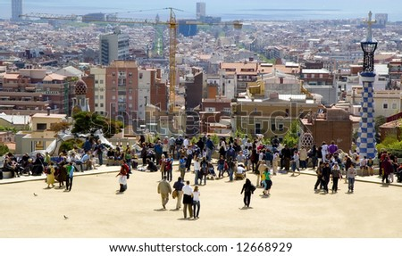 Barcelona, Spain, Park Quell wide angle view at the town - stock photo