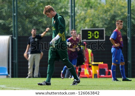 BARCELONA, SPAIN - SEP 11: Miguel Ba�±uz plays with F.C Barcelona youth team against Manlleu on September 11, 2011 in Barcelona, Spain. - stock photo