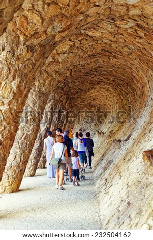 BARCELONA,SPAIN-SEPT 02,2014 :Gorgeous and amazing Park Guel in Barcelona. Park Guell (1914) is the famous architectural town art designed by Antoni Gaudi. Event September 02, 2014 in Barcelona, Spain - stock photo