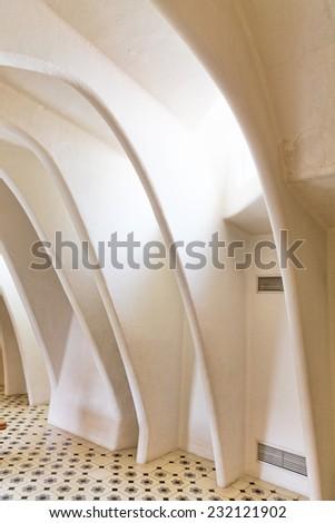 BARCELONA, SPAIN - SEPT  04, 2014: Interior and inner chambers Gaudis  creation house Casa Batlo. Casa Batllo was built in 1877 by Antoni Gaudi. September 04, 2014 in Barcelona, Spain. - stock photo