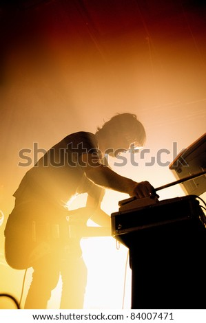 BARCELONA, SPAIN - SEPT 2: Midnight Juggernauts band performs at Razzmatazz Clubs on September 2, 2011 in Barcelona, Spain. - stock photo