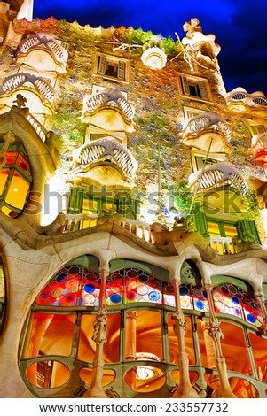 BARCELONA, SPAIN - SEPT  04, 2014: Night outdoor view  Gaudi's  creation-house Casa Batlo.  Casa Batllo was built in 1877 by Antoni Gaudi.  September 04, 2014 in Barcelona, Spain. - stock photo