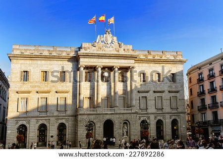 BARCELONA, SPAIN - SEPT  01, 2014: Placa de Sant Jaume. The central area of Barcelona, the building of the Government of Catalonia  September 01, 2014 in Barcelona, Spain. - stock photo