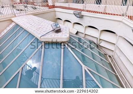 BARCELONA, SPAIN - SEPT  04, 2014: Roof, housetop  Gaudi's  creation-house Casa Batlo. Casa Batllo was built in 1877 by Antoni Gaudi, and now commissioned by Lluis Sala Sanchez.