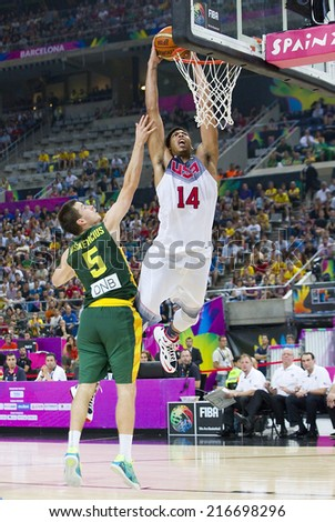 BARCELONA, SPAIN - SEPTEMBER 11: Anthony Davis of USA in action at FIBA World Cup basketball match between USA Team and Lithuania, final score 96-68, on September 11, 2014, in Barcelona, Spain. - stock photo