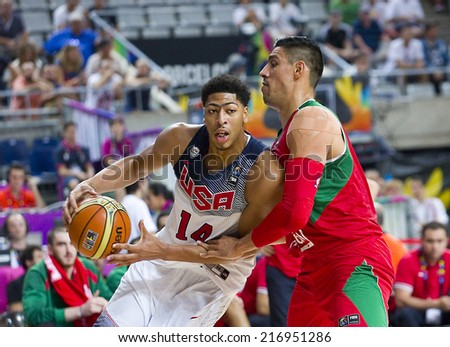 BARCELONA, SPAIN - SEPTEMBER 6: Anthony Davis of USA Team (14) in action at FIBA World Cup basketball match between USA and Mexico, final score 86-63, on September 6, 2014, in Barcelona, Spain. - stock photo