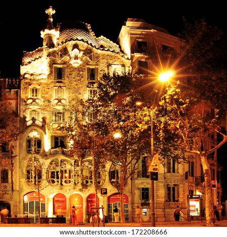 BARCELONA, SPAIN - SEPTEMBER 10: Casa Battlo at night on September 10, 2012 in Barcelona, Spain. The famous building was designed by Antoni Gaudi - stock photo