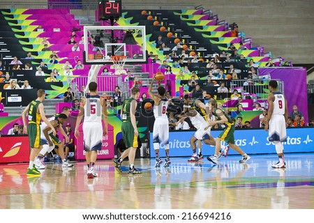 BARCELONA, SPAIN - SEPTEMBER 11: Derrick Rose of USA (6) in action at FIBA World Cup basketball match between USA Team and Lithuania, final score 96-68, on September 11, 2014, in Barcelona, Spain. - stock photo