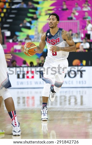 BARCELONA, SPAIN - SEPTEMBER 6: Derrick Rose of USA Team in action at FIBA World Cup basketball match between USA and Mexico, final score 86-63, on September 6, 2014, in Barcelona, Spain. - stock photo