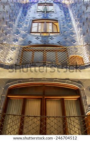 BARCELONA, SPAIN - September 14:  Interior of Gaudi's creation house Casa Batlo. Casa Batllo was built in 1877 by Antoni Gaudi  on September 14, 2014 Barcelona, Spain - stock photo