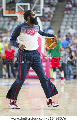 BARCELONA, SPAIN - SEPTEMBER 6: James Harden of USA Team at FIBA World Cup basketball match between USA and Mexico, final score 86-63, on September 6, 2014, in Barcelona, Spain. - stock photo