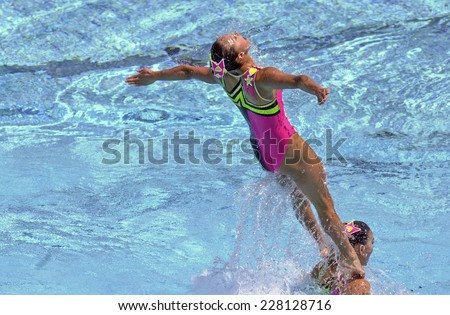 BARCELONA, SPAIN-SEPTEMBER 04,1999: Japan swimming synchronized team in action during the World Swimming Championship, in Barcelona.