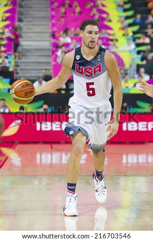 BARCELONA, SPAIN - SEPTEMBER 11: Klay Thompson of USA in action at FIBA World Cup basketball match between USA Team and Lithuania, final score 96-68, on September 11, 2014, in Barcelona, Spain. - stock photo