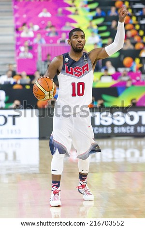 BARCELONA, SPAIN - SEPTEMBER 11: Kyrie Irving of USA in action at FIBA World Cup basketball match between USA Team and Lithuania, final score 96-68, on September 11, 2014, in Barcelona, Spain. - stock photo