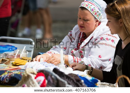 BARCELONA, SPAIN - SEPTEMBER 06, 2015: Pysanky (Easter eggs) and other souvenirs for sale on display at the Day of Ukrainian culture, Catalonia.
