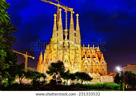 BARCELONA, SPAIN - SEPTEMBER 02: Sagrada Familia,beautiful and majestic  outdoor view on September 02,2014 in Barcelona,Spain.Designed by Antoni Gaudi, the church is still incomplete. - stock photo