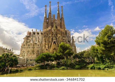BARCELONA, SPAIN - SEPTEMBER 15: Sagrada Familia of 2015 in Barcelona. Sagrada a surname - the most known the buildings created by Antoni Gaudi. - stock photo